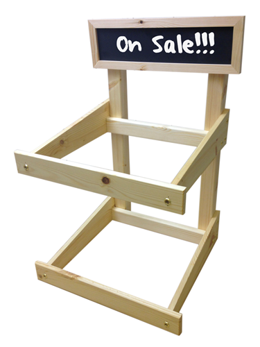 Image of Wooden Counter Display Stand with Blackboard