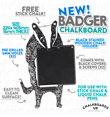Image of Badger Chalkboard with Wooden Chalk Tray