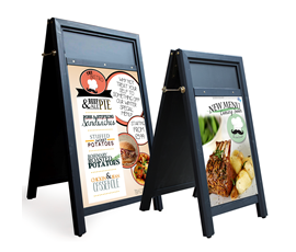 Image of Black A-Frame Poster Holder Chalkboard with Display Panel