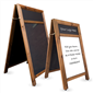 Image of Dark Oak A-Frame Poster Holder Chalkboard with Display Panel