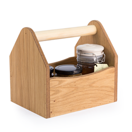 Image of Large Wooden Condiment Holder (Natural)