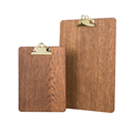 Image of Gold Fixed Clip Wooden Clipboard