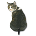Image of White And Tabby Cat - Wall Hooks