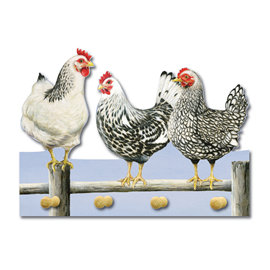 Image of Black & White Chickens - Key Holders