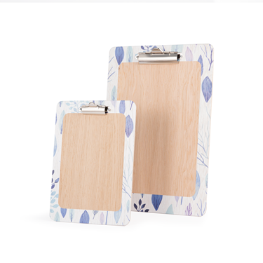 Image of Printed 'Blue Leaf' Wooden Clipboards