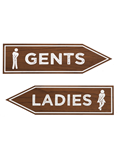Image of Wooden Toilet Arrow Signage (Dark Oak)