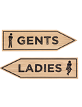 Image of Wooden Toilet Arrow Signage (Natural)