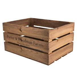 Image of Large Wooden Rustic Crate - Printed P&W Farm