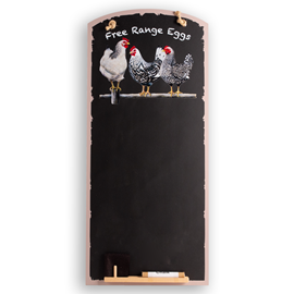 Image of Black & White Chickens - Tall Thin Chalkboard