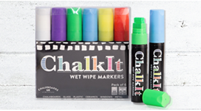 Chalk It Wet Wipe Liquid Chalk Pens - Pack of 6 - Assorted - (15mm)