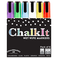 Image of Chalk It Wet Wipe Liquid Chalk Pens - Pack of 6 - Assorted