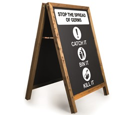 Image of Stop the spread of germs Printed A-Frame Chalkboard