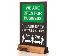 Image of Open for Business Pre-printed Table Top Chalkboard