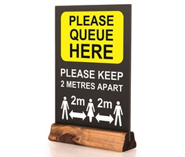 Image of Queue Here Pre-printed Table Top Chalkboard