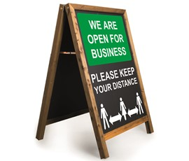Image of Open for Business Printed A-Frame Chalkboard