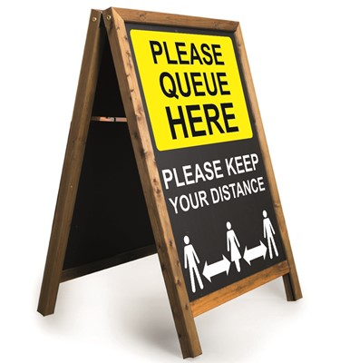 Image of 'Queue Here' Printed A-Frame Chalkboard