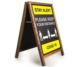 Image of Stay Alert Printed A-Frame Chalkboard