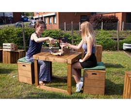 Image of Wooden Open-sided Table with Stools Sets (2, 4 and 6 seater)